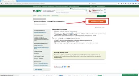 Проверка на наличие налоговой задолженности на портале электронного правительства