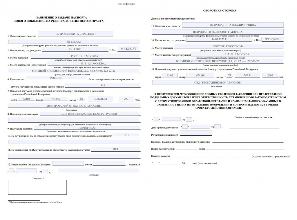 бланк анкеты на загранпаспорт нового образца на 10 лет