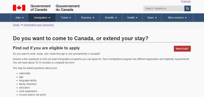 Страница сайта правительства Канады