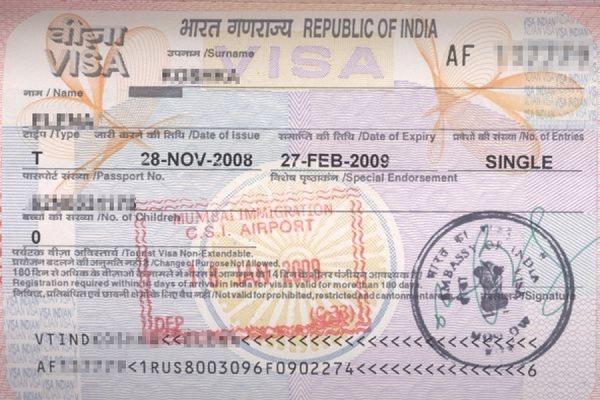 Образец индийской визы