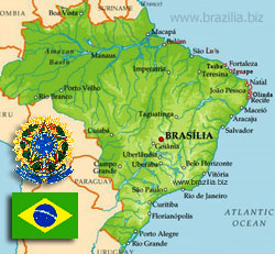 карта Бразилии, флаг, герб