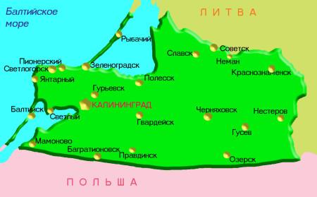 Калининградская область на карте