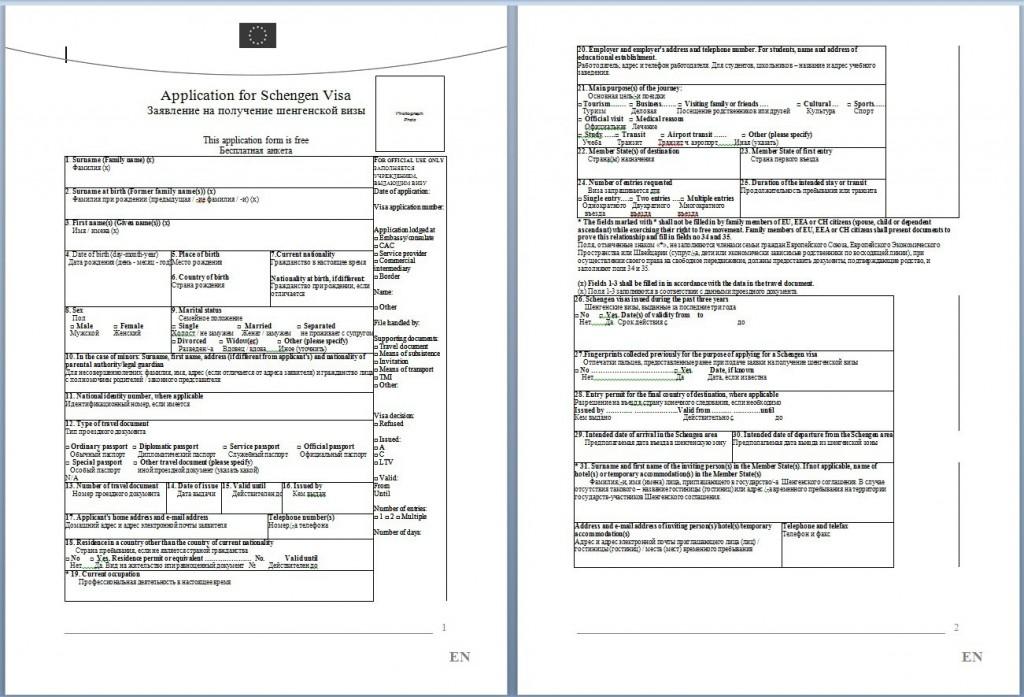виза в нидерланды образец анкеты