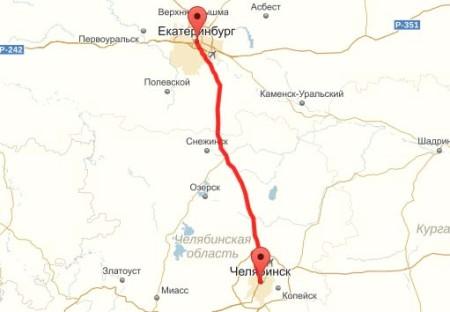 Карта проезда Екатеринбург-Челябинск