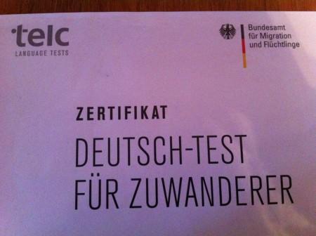 Сертификат о сдаче экзамена по немецкому языку
