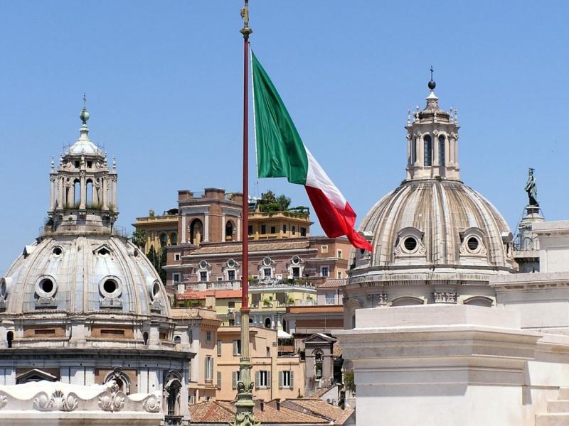 Рим. Флаг Италии.