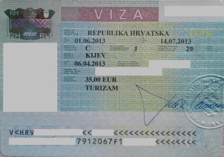 Хорватская виза