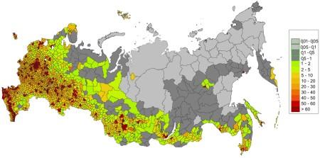Плотность населения в России