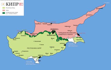 Кипр на карте
