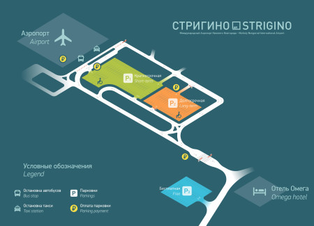 Схема расположения парковок в Стригино