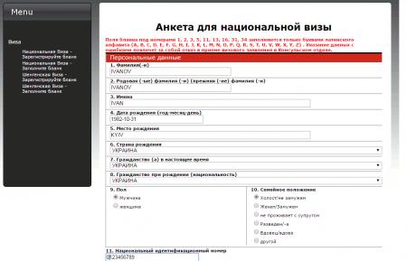 образец онлайн-анкеты на национальную визу