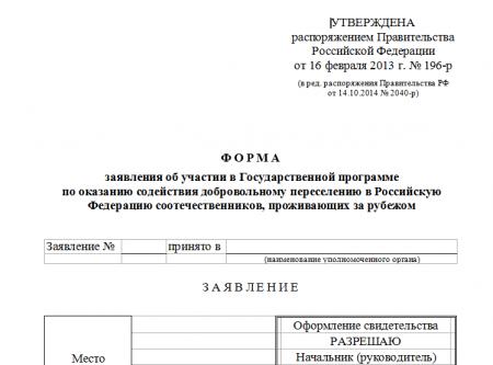 Форма заявления об участии в программе