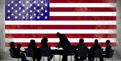 Флаг США с люди