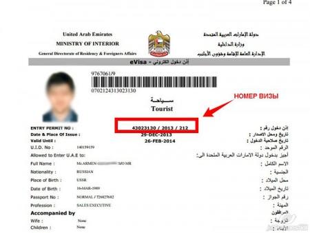 номер визы в ОАЭ