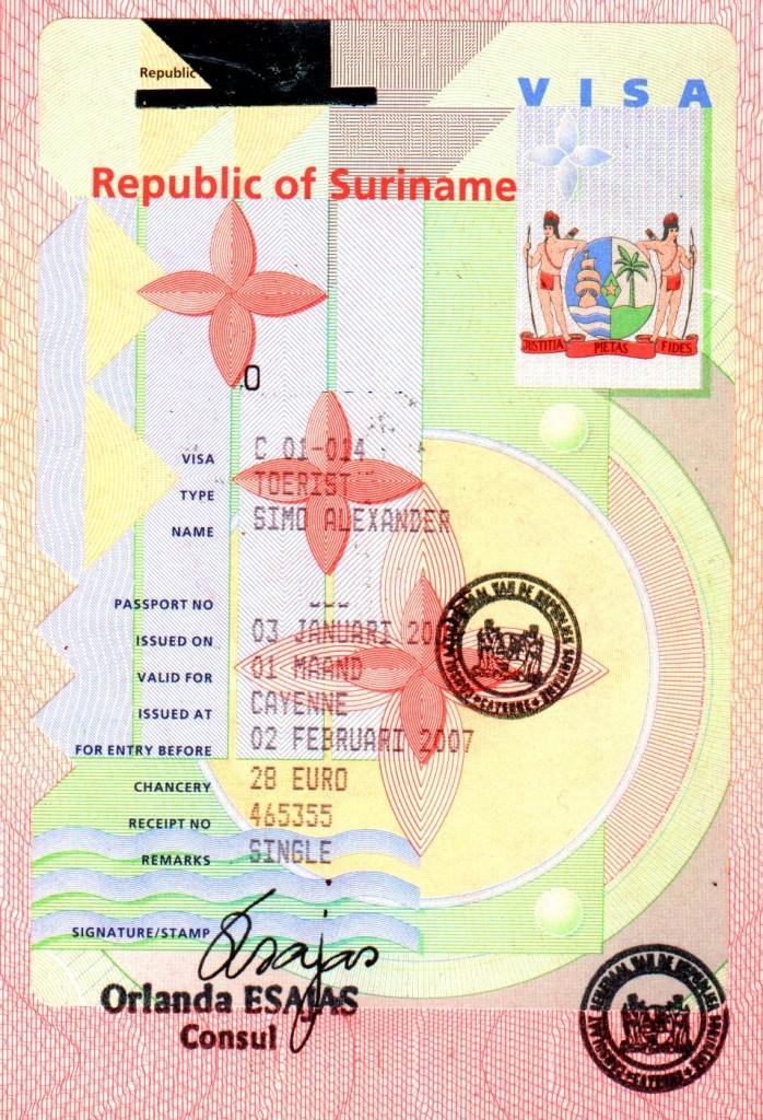 Виза в Суринам