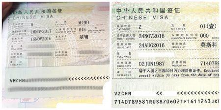 визы в Китай категории M и Z