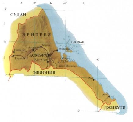 Эритрея на карте