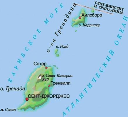 Гренада на карте