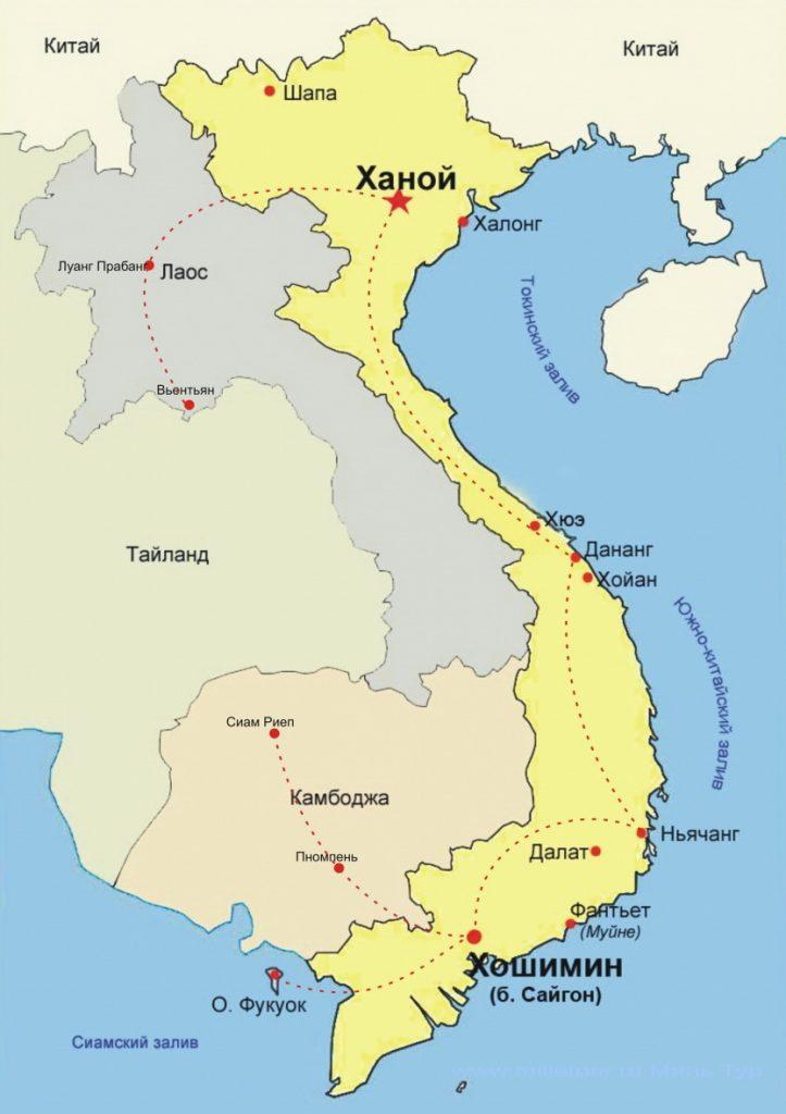 Вьетнам на карте мира