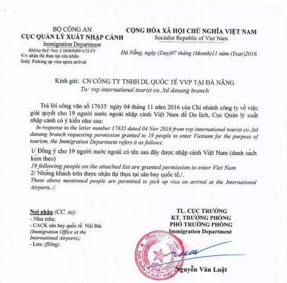 приглашение для визы во Вьетнам