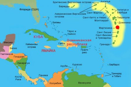 остров Мартинику на карте мира