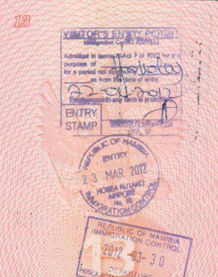 штамп в паспорте по прибытию в Намибию
