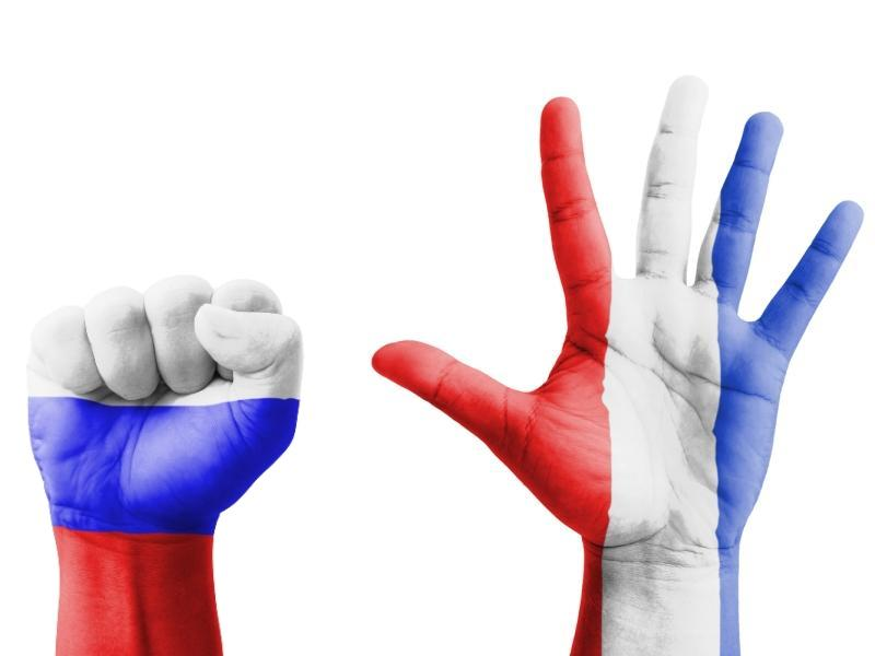Флаг Франции на руках