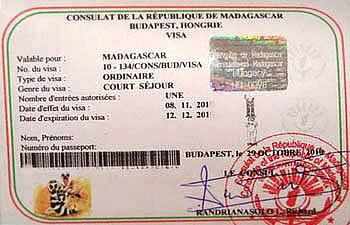 Образец виза в Мадагаскар