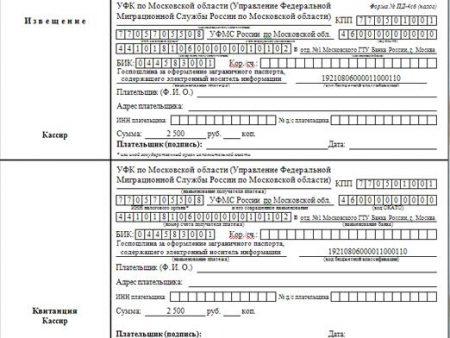 квитанции об оплате государственной пошлины за загранпаспорт старого образца