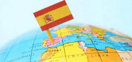 Флаг Испании на карте