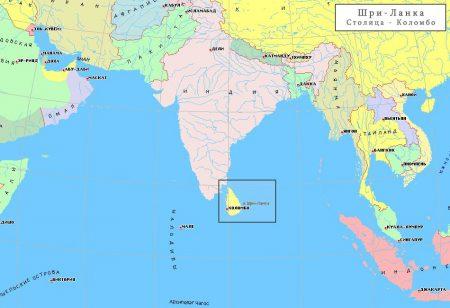 Шри-Ланка на карте