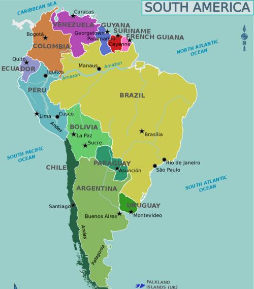 Карта стран Южной Америки