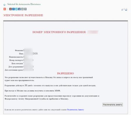 электронное разрешение для въезда в Мексику