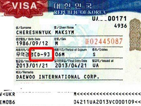 Виза в Южную Корею типа D-9