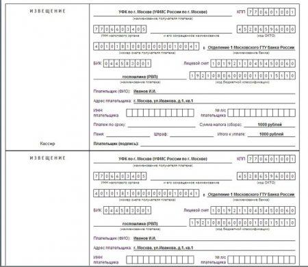 квитанция об оплате госпошлины