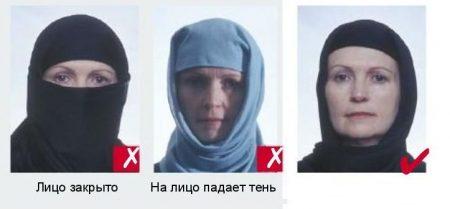 Лицо не должно быть закрыто любом случае. Так же необходимо убедиться, чтобы от головного убора не падала тень на лицо.
