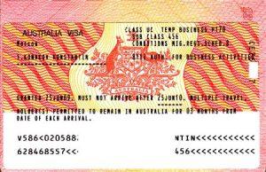 Образец визы в Австралию