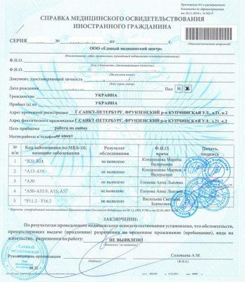 медицинское освидетельствование иностранного гражданина