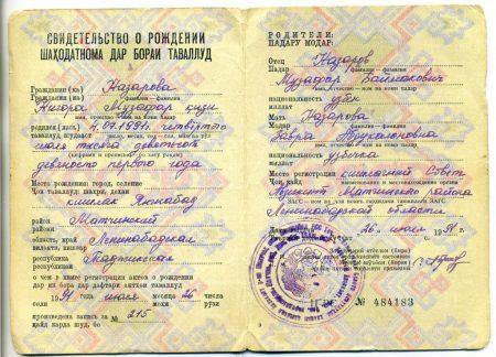 Свидетельсво о рождении гражданина таджикистана