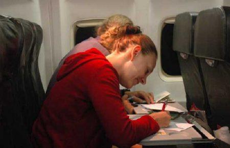 заполнение карты в самолете