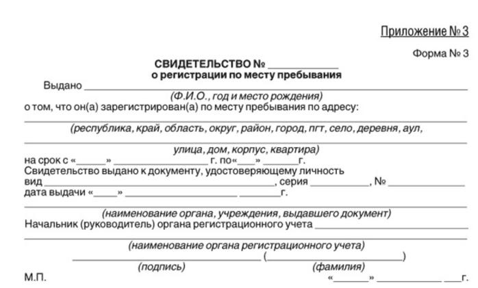 Свидетельство о временной регистрации в России