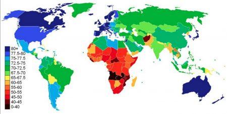 Продолжительность жизни в разных странах мира