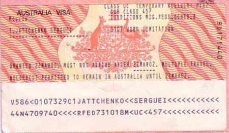 виза в Австралию Subclass 457