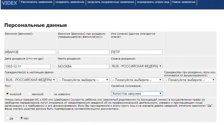 Пример заполнения анкеты на получение визы в Германию на сайте videx.diplo.de