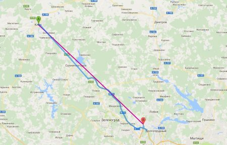 Расстояние на карте от Клина (А) до Шереметьево (В)