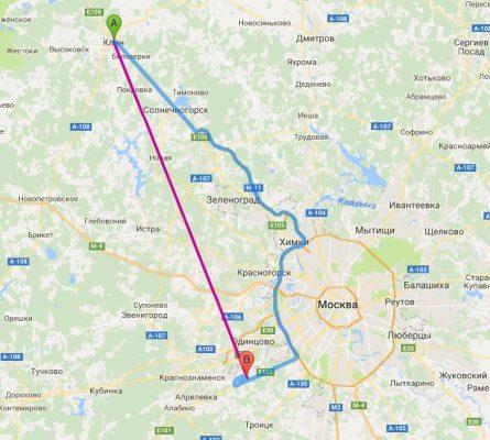 Расстояние на карте от Клина (А) до Внуково (В)