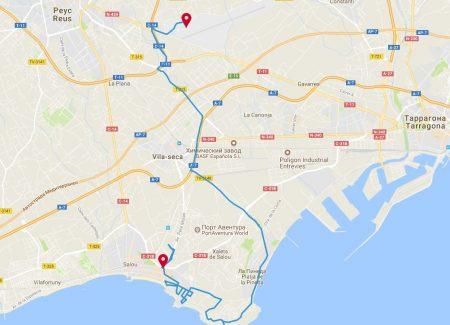 Расстояние на карте от аэропорта Реус до Салоу