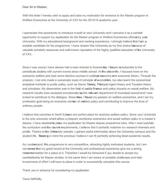 Образец мотивационного письма в университет Великобритании