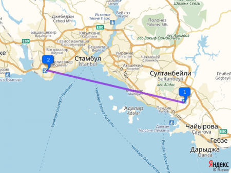 Расстояние между аэропортами Ататюрк и Сабиха Гекчен