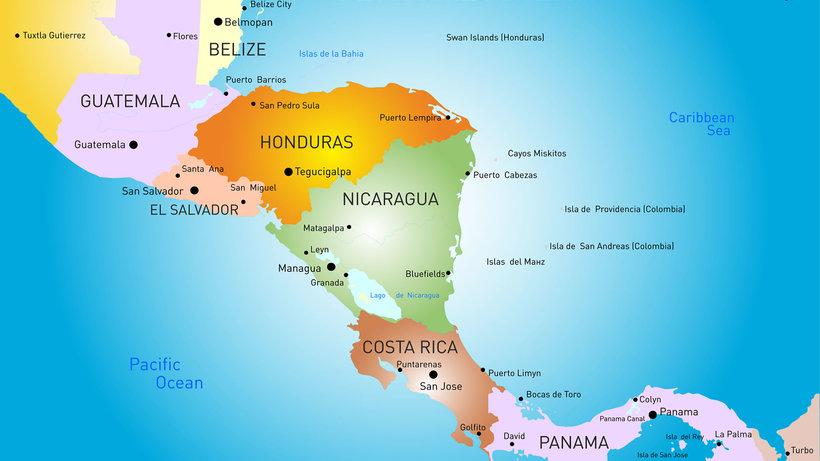 Расположение стран Центральной Америки на карте